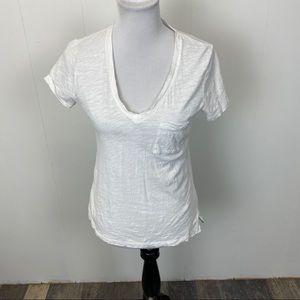 Madewell White Whisper Cotton V Neck Pocket Tshirt